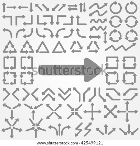 Big set of arrows. Gray isolated. Vector illustration. - stock vector