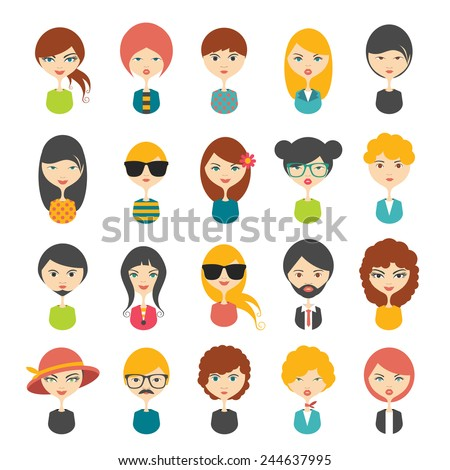 Big set of avatars profile pictures flat icons. Vector stylized illustration.  - stock vector