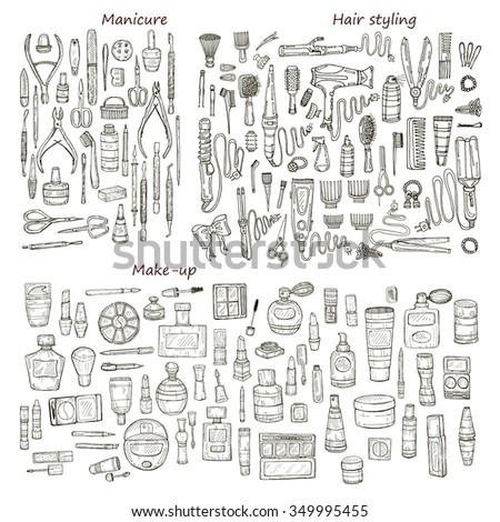Big set of 146 beauty  products and tools including make-up products and perfumes, hair styling and manicure tools. Vector hand drawn outline beauty collection. - stock vector
