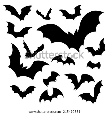 Big set of black silhouettes of bats, vector - stock vector