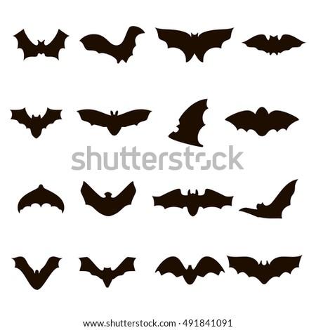 Big Set Black Silhouettes Halloween Bats Stock Vector 491841091 ...