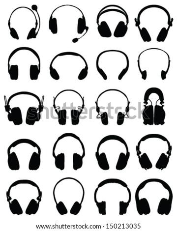 Big set of black silhouettes of headphones, vector - stock vector