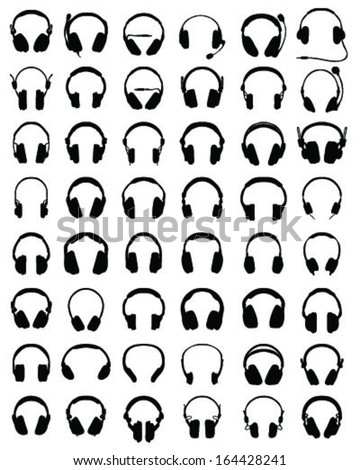 Big set of black silhouettes of headphones, vector illustration - stock vector