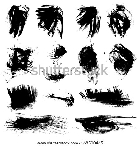 Big set of black strokes drawn thick paint - stock vector