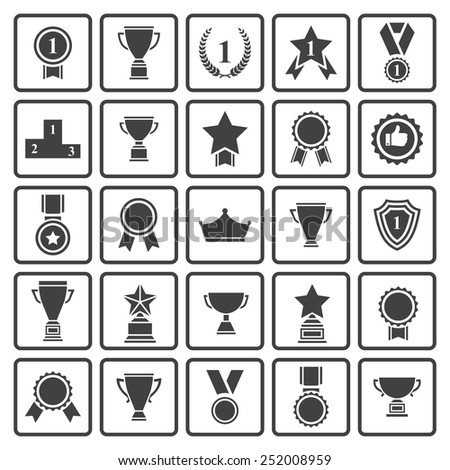 Big set of  black vector award success and victory icons with trophies,stars,cups,ribbons,rosettes,medals,medallions ,wreath, podium  - stock vector
