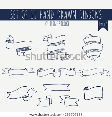 Big set of blank cute blue outline stroke ribbon banners on light background. Hand drawn vector illustration of decorative elements for your design. Part 3. - stock vector
