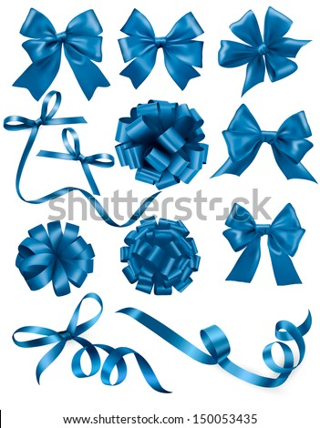 Big set of blue gift bows with ribbons. Vector illustration.  - stock vector