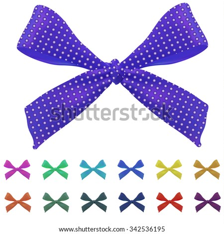 Big set of bows. VECTOR. Different colors. Purple. Magenta, turquoise, yellow, red, green, blue - stock vector