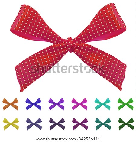 Big set of bows. VECTOR. Different colors. Red. Magenta, turquoise, yellow, purple, green, blue, orange - stock vector