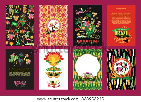 Big set of Brazil  Carnival Backgrounds. Patterns for Placards, Posters, Flyers and Banner Designs. - stock vector