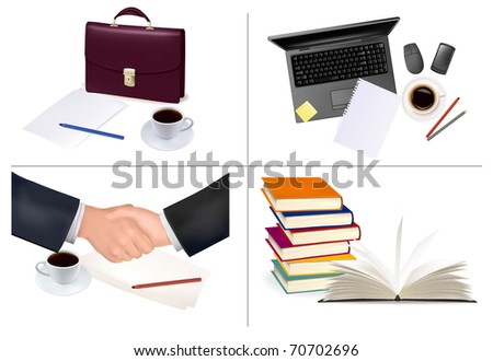 Big set of business and office supplies. Vector. - stock vector