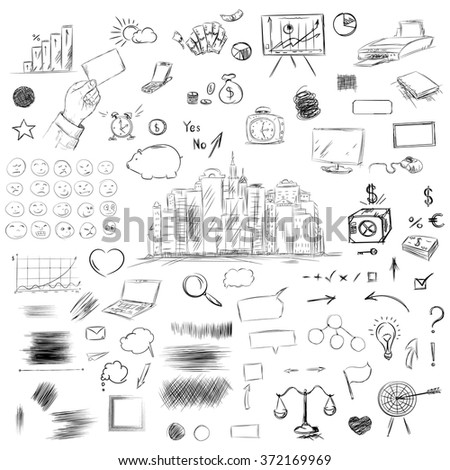 Big set of business components. Black and white sketch money, goals, weights, statistics, arrows, scribble, notebook, hand and other symbols in a vector. - stock vector