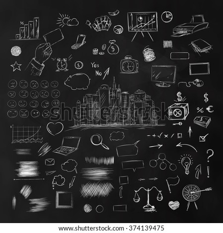 Big set of business components. Black and white sketch money, goals, weights, statistics, arrows, scribble, notebook, hand and other symbols in a vector. Blackboard texture - stock vector