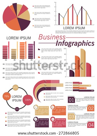Big set of business infographic elements include pie chart, statistical bar and graph. - stock vector