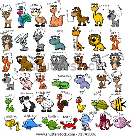 big set of cartoon animals - Images Cartoon Animals