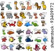 Big set of cartoon animals, vector - stock photo