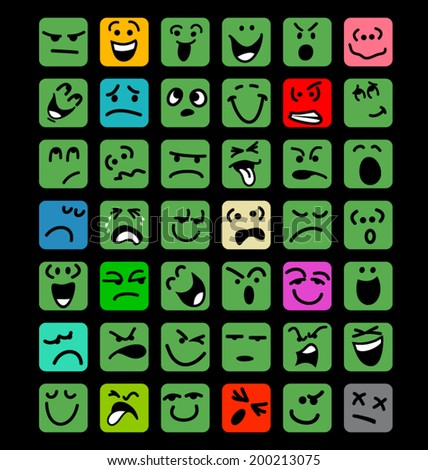 big set of cartoon facial expressions - stock vector
