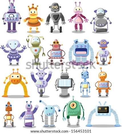 Big set of cartoon robots - vector