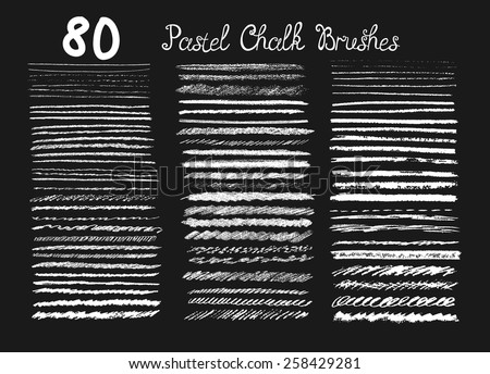 Big set of chalk brushes. Hand drawn pastel chalk lines. - stock vector