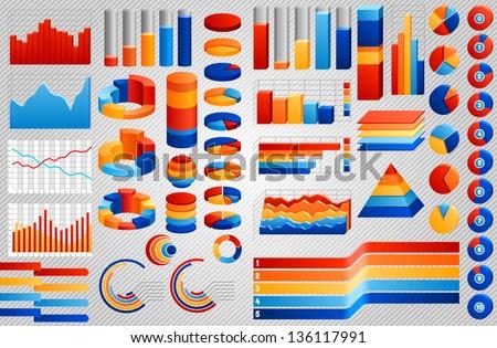 Big set of charts, EPS 8. - stock vector