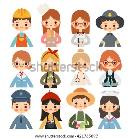big set children different professions cute stock vector royalty