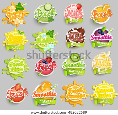 Big set of chocolate, banana, strawberry milk, orange, lemon, lime juece,smoothie and fresh labels splash. Lettering, splash and blot design, shape creative vector illustration.