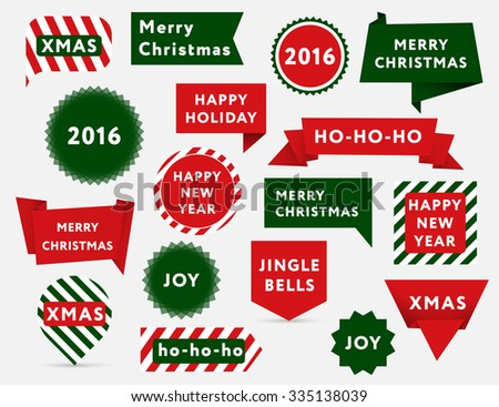 Big set of Christmas banners with greetings in traditional colors. Best for web and posters. - stock vector
