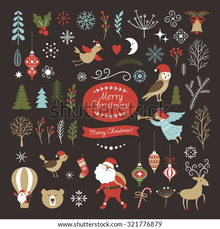 Big Set of Christmas graphic elements on a black background, collection design elements, vector images - stock vector