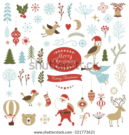 Big Set of Christmas graphic elements on a white background, collection design elements, vector images - stock vector