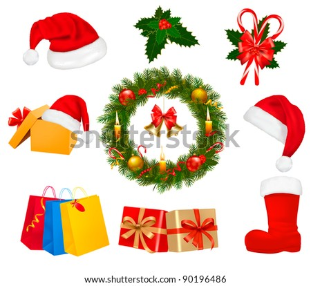 Big set of Christmas wreath with christmas tree and candle. Vector illustration. - stock vector