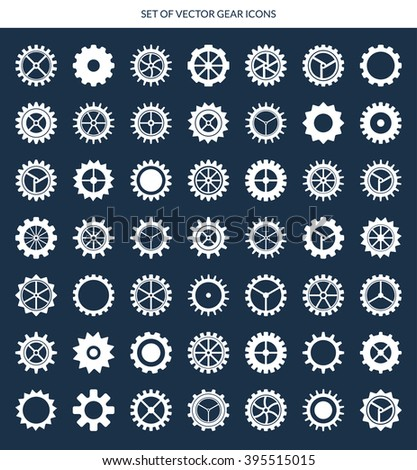 Big set of cogwheels, pinions and gear wheels isolated on dark background. For industrial and machinery design - stock vector