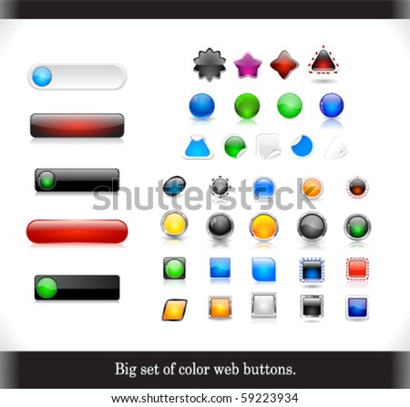 Big set of color web buttons - stock vector