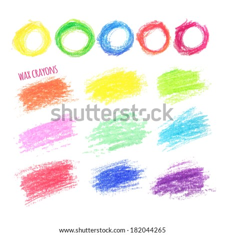 big set of colored spots wax crayon, isolated on white background - stock vector