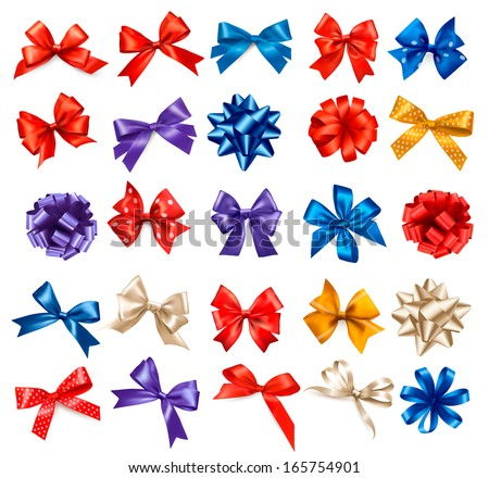 Big set of colorful gift bows with ribbons. Vector. - stock vector