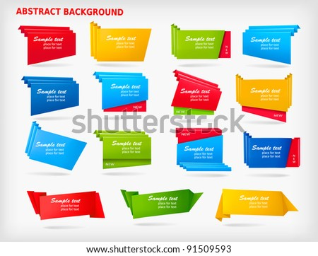 Big set of colorful origami paper banners. Vector illustration. - stock vector