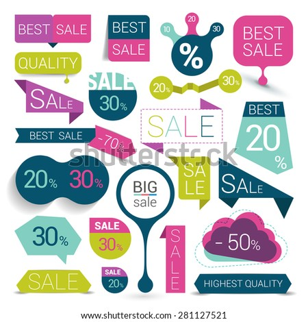 Big set of colorful sale stickers, bubbles, ribbons. Vector illustration. - stock vector