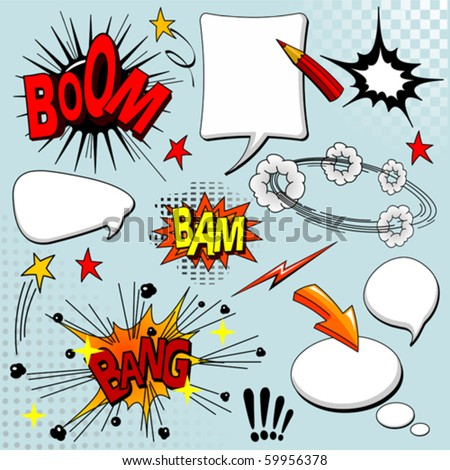 Big set of comic elements for your design - stock vector