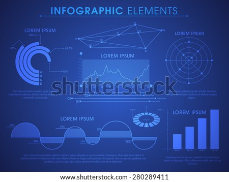 Big set of creative business infographic elements including statistical graphs and charts for financial data presentation on shiny blue background.  - stock vector