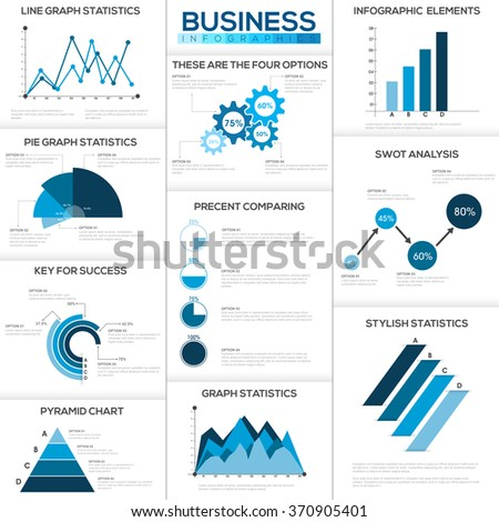 Big set creative business infographic elements stock vector royalty big set of creative business infographic elements with statistical bar graphs and chart for professional ccuart Gallery