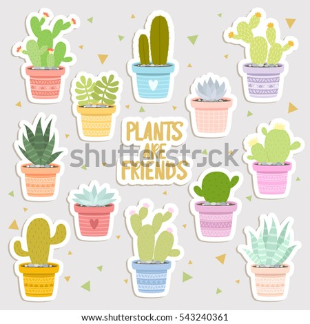Big set of cute cartoon cactus and succulents stickers cute stickers or patches or pins