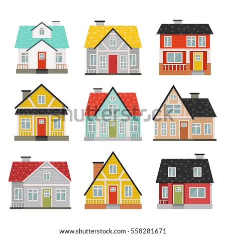cartoon pictures of houses  Big Set Cute Cartoon Houses Facades Stock Vector (Royalty Free ...