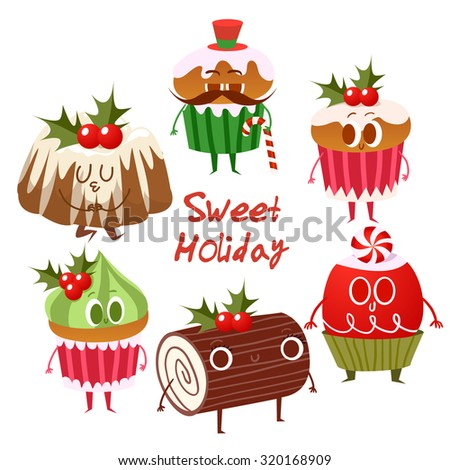 Big set of Cute Christmas cookies isolated on white. Merry Christmas illustration. Cartoon Christmas character. Happy holidays. Happy New Year.