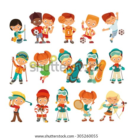 Big set of cute kids playing various sports. Little children icon set isolated on white background. Vector illustrations