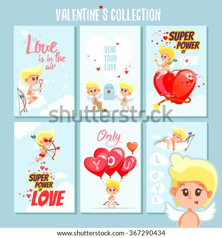 big set of cute romantic printable cards or posters for valentines dayvector illustration with
