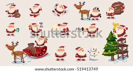 Big set of cute Santa Claus. Vector illustration in cartoon style.