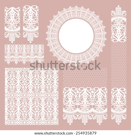 Big set of delicate White Lace Seamless patterns, brushes, different lace borders, napkins, ribbons and lace elements. Vector illustration on pink background - stock vector