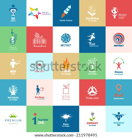 Big set of Design color icons. Design Icon of People, Eco, Organic, Natural, Green, Ecological Products, Technologies. - stock vector