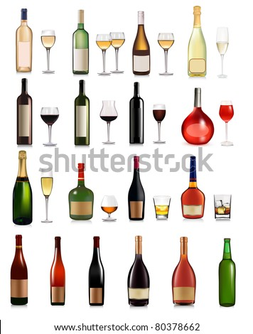 Big set of different drinks. Vector illustration. - stock vector
