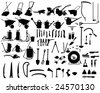 Big Set of Different Kind of Garden Tools Silhouettes. High Detail, Very Smooth. Vector Illustration.  - stock vector
