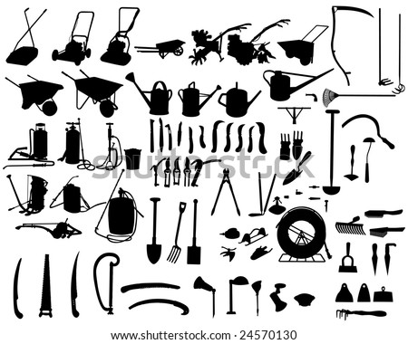 Big Set of Different Kind of Garden Tools Silhouettes. High Detail, Very Smooth. Vector Illustration.